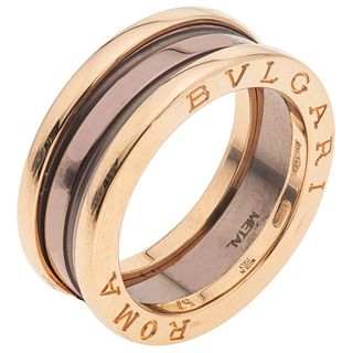 CERAMIC AND 18K ROSE GOLD RING FROM THE BVLGARI FIRM, B.ZERO1 COLLECTION Weight: 9.1 g. Size: 7 ¾