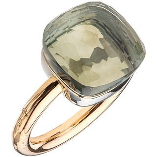 RING WITH PRASIOLITE IN 18K ROSE GOLD FROM THE FIRM POMELLATO, NUDO COLLECTION Weight: 9.3 g. Size: 4 ½