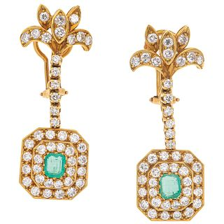 """PAIR OF EARRINGS WITH EMERALDS AND DIAMONDS IN 18K YELLOW GOLD Post earrings. Weight: 11.8 g. Size: 0.55 x 1.6"""" (1.4 x 4.1 cm)"""