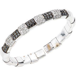 18K WHITE GOLD DIAMOND BRACELET Open design. Weight: 47.4 g. Length:...