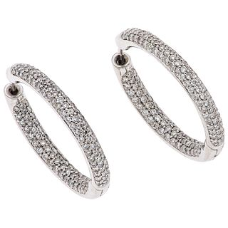 """PAIR OF EARRINGS WITH DIAMONDS IN 14K WHITE GOLD Post and pressure safety. Weight: 9.1 g. Size: 0.01 x 0.09""""  (0.3 x 2.5 cm)"""