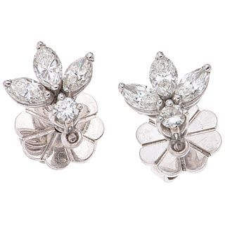 """PAIR OF 18K WHITE GOLD DIAMOND STUD EARRINGS Weight: 3.4 g. Size: 0.03 X 0.03"""" (0.9 x 0.9 cm)"""