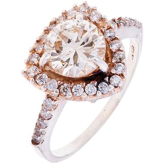 RING WITH DIAMOND AND SIMULANTS IN SILVER Weight: 3.2 g. Size: 8 1 Brilliant cut diamond ~ 1.60 ct Clarity: SI1 ...