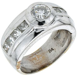 RING WITH DIAMONDS IN 14K WHITE GOLD Weight: 13.1 g. Size: 7 ¾ 1 Brilliant cut diamond ~ 0.75 ct Clarity: ...