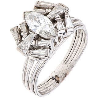 RING WITH DIAMONDS IN PALLADIUM SILVER Weight: 5.3 g. Size: 8 ¼ 1 Marquise cut diamond ~ 1.0 ct Clarity: SI1 Co ...