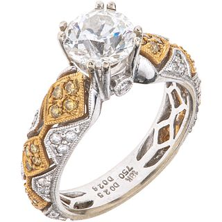 18K WHITE AND YELLOW GOLD DIAMOND RING Weight: 6.2 g. Size: 6 ¾ 1 Antique European cut diamond ~ 1.38 ...