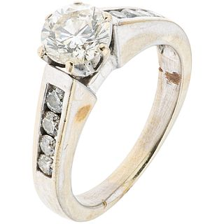 14K WHITE GOLD DIAMOND RING Shows wear and marks. Weight: 5.7 g. Size: 7¼ 1 Diamond cut br ...