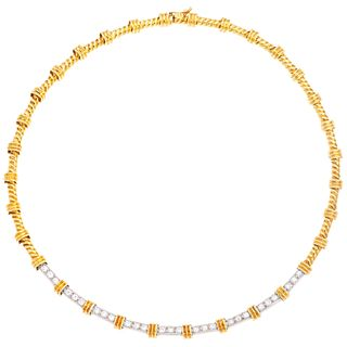 18K AND 14K YELLOW AND WHITE GOLD DIAMOND NECKLACE Box clasp, 8-shape safety. Weight: 33.6 g. Length: 37.8 ...