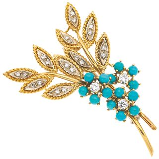18K WHITE AND YELLOW GOLD DIAMOND AND TURQUOISE PIN Slide tube pin. Weight: 12.1 g.