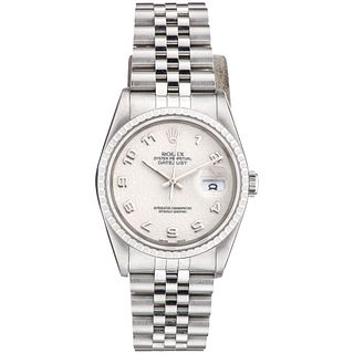 ROLEX OYSTER PERPETUAL DATEJUST WATCH IN STEEL REF. 16220, CA. 1990 - 1991 Movement: automatic. Caliber: 3135