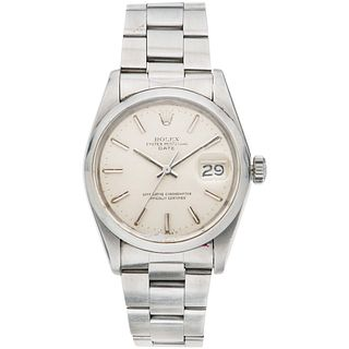 ROLEX OYSTER PERPETUAL DATE WATCH IN STEEL REF. 1500, CA. 1974-1975 Movement: automatic. Caliber: 1570 Series: 383X ...