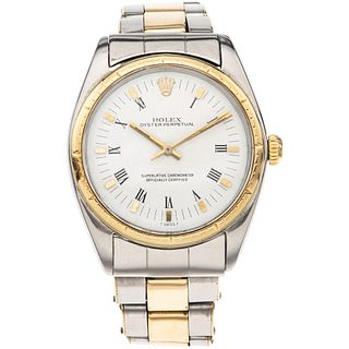 ROLEX OYSTER PERPETUAL WATCH IN STEEL AND 14K YELLOW GOLD REF. 1008 Movement: automatic. Caliber: 1560 Box: ci ...