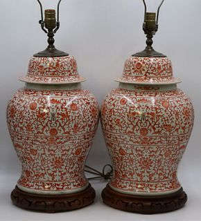 Pair of Chinese Iron Red Ginger Jars as Lamps.