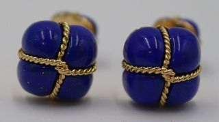 JEWELRY. Pair of Verdura 18kt Gold and Lapis