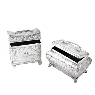 (2) Dutch Silver Tea Caddies