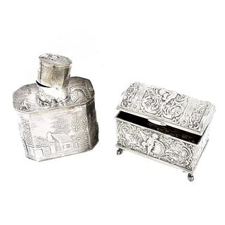 Silver Tea Caddy and Casket Box