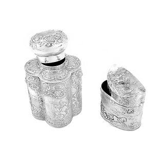 (2) German Silver Tea Caddies