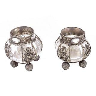 Pair of Swiss 875 Silver Vases, Bossard Mark