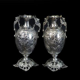Pair of Antique British Silver Vases