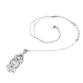 Art Deco Diamond and Platinum Pendant Necklace