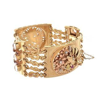 Gemstone and 14K Wide Bracelet