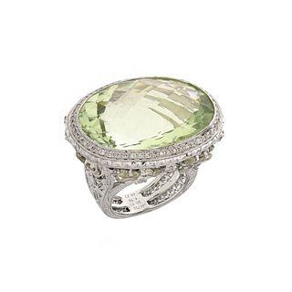 Prasiolite, Diamond and 18K Ring