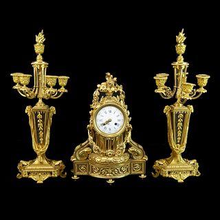 Popon, A. Paris Gilt Bronze Three Piece Garniture