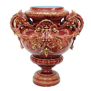 Sarreguemines Majolica Pottery Urn