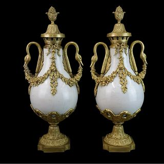 Pair of French Marble and Bronze Urns