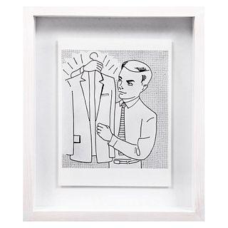 ROY LICHTENSTEIN Man with suit in the hand Litografía offset edición de 180 ejemplares Enmarcada 44 x 37 cm con marco