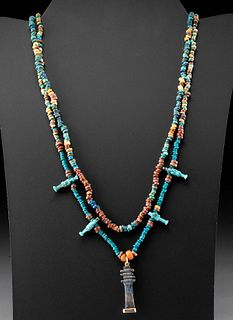 Egyptian Faience Bead Necklace w/ Lapis Djed Pillar