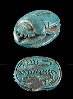 Egyptian Glazed Scarab w/ Scorpions,ex-Mitry