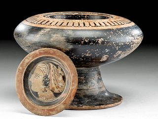 Greek Attic Pottery Plemochoe w/ Apulian Lid