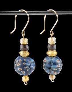 Wearable Roman Glass Bead Earrings