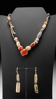 Roman / Phoenician Glass & Stone Necklace w/ Earrings
