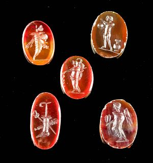 Lot of 5 Neoclassical Carnelian Intaglio Cabochons