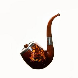 Royal Doulton Kingsware Tobacco Pipe with Smokers on Panel