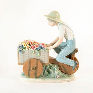 Boy w/ Tricycle & Flowers 01005029 - Lladro Porcelain Figure
