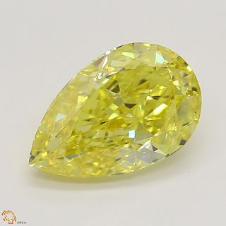 1.51 ct, Natural Fancy Vivid Yellow Even Color, VS2, Pear cut Diamond (GIA Graded), Unmounted, Appraised Value: $73,500