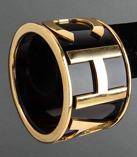 Chanel Runway Plexiglass Logo Bangle Bracelet