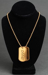 Chanel Double Dog Tag Pendant Gold-Tone Necklace