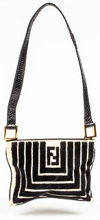 Fendi Canvas & Velvet Shoulder Bag