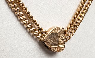 14K Yellow Gold Necklace with Heart-Shaped Slide