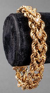 14K Yellow Gold Diamond Heart Rope Bracelet