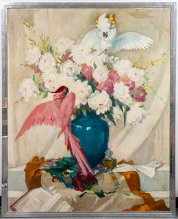 """Charley Garry """"Cockatoos"""" Large Oil On Canvas"""