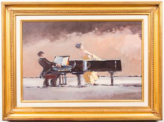 """Frederick McDuff """"Her First Concert"""" Oil on Canvas"""