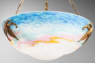 Muller Frères Art Deco Glass Pendant Chandelier