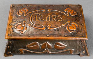 Art Nouveau Hammered Copper Humidor Box