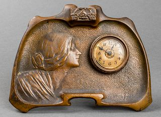 Western Clock Art Nouveau Portrait Desk Clock