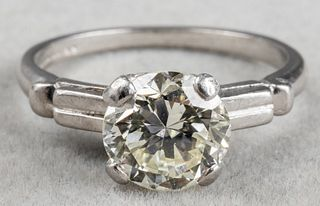 GIA 1.42 Ct Round Brilliant-Cut Diamond Plat Ring